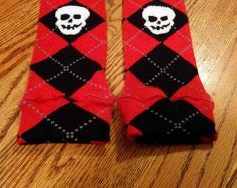 Argyle Skull Baby/Toddler Leg Warmers - Great for Halloween!