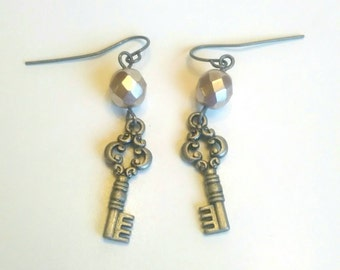 Tiny Matte Silver Key and Faceted Pink Glass Bead Earrings