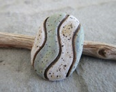 Blue-Green and White Striped Stoneware Cabochon