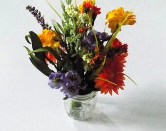 Wildflower Centerpieces for Mason Jars, Wine Bottle Silk Flower Arrangements