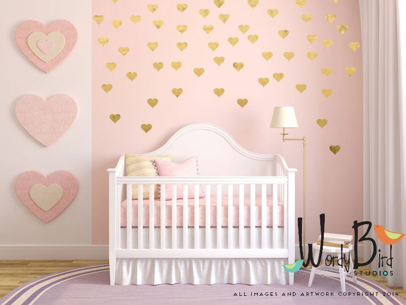 Gold Heart Decals Gold Confetti Hearts Wall By