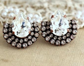 Bridal Earrings,Swarovski Bridal Earrings,Crystal White Earrings,Bridal Jewelry,Rusty Crystal Earrings,Valentines Gift,Swarovski Earrings