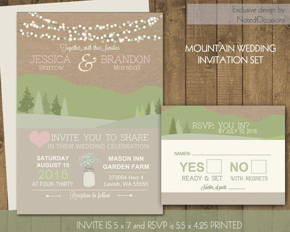 mountain wedding invitations rustic natural wedding invites, Wedding invitations