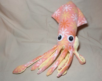 Made to Order Bonita the Orange Sherbet Stars Fleece Squid Stuffed Plush Animal