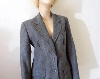 1970s Wool Jacket - vintage preppy blazer - charcoal grey women's suit coat