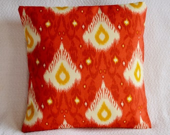 CLEARANCE!!! Ikat Indoor/ Outdoor Pillow Cover 16x16 in Red, Yellow, White, Fire