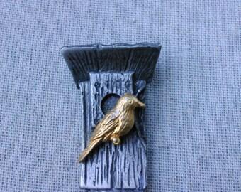 Vintage Pewter Batsin signed bird house brooch