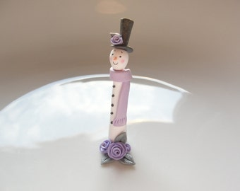 Miniature contemporary Christmas tall snowman ornament for 1 inch scale dollhouse handmade from polymer clay