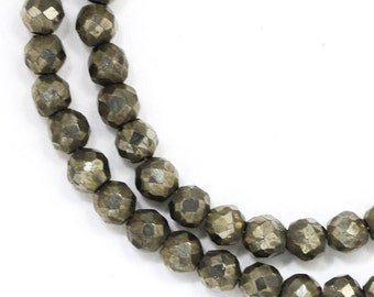 CLEARANCE Pyrite Beads - 3.5-3.8mm Faceted Round - Half Strand