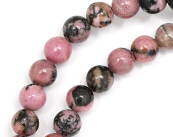 Rhodonite (with Matrix) Beads - 6mm Round