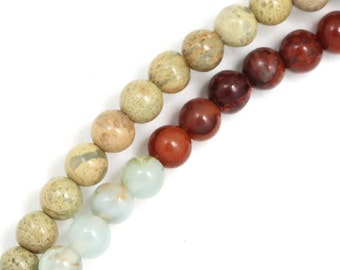 """CLEARANCE Snakeskin """"Opal"""" (Tri Color) Beads - 4mm Round - Full Strand"""