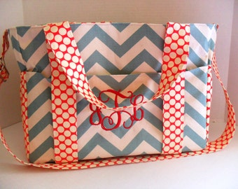Extra Large Diaper Bag -  Chevron - Red Polka Dot Fabric- Elastic Pockets - Diaper Bag - Messenger Bag - Tote Bag - Personalized