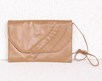 Rectangular Envelope Style Tan Clutch / Purse - 1980s Vintage - Great Condition