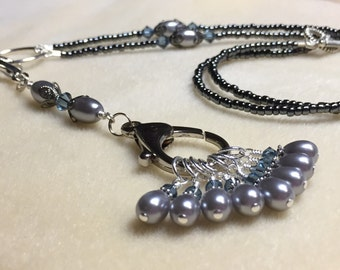 Black & Grey Knitters Necklace - Snag Free Stitch Markers and Removable Lanyard Holder - Gifts for Knitters - Eyeglass Chain