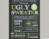 Chalkboard ugly sweater christmas party invitation - tacky sweater