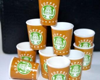 10 pcs Starbucks coffee miniature plastic cups for BJD doll or decoden crafts