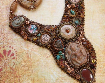 Bead Embroidery Necklace Ancient Artifact