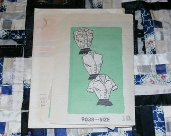 1956 Vintage Marian Martin Mail Order Pattern 9038, Misses Blouse Size 10
