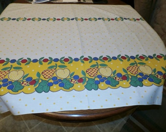 """Neat Vintage Feedsack Fabric, Border Floral Design with Yellow Polka Dots, Cotton Yardage, 36 1/2"""" x 50 1/2"""""""
