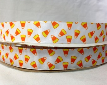 5 Yds WHOLESALE 7/8 Inch CANDY CORN Halloween grosgrain ribbon Low Shipping Cost