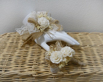 Wrist Corsage and/or Boutonniere, Sola Flowers, Burlap, Lace, Babies Breath & Jute Ribbon. Made to Order.