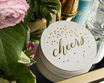 Cheers Coasters Gold Foil