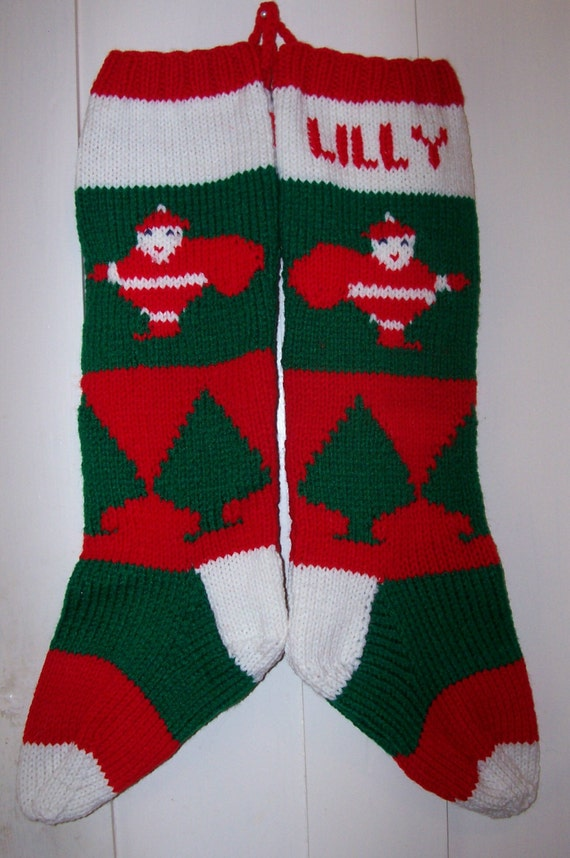 Hand Knit Christmas Stocking Patterns : Items similar to Hand Knit Christmas Stocking Old Pattern ...