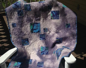 Vintage Style Blue Baby Quilt or Throw