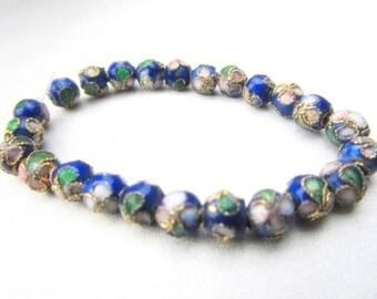 30 Royal Blue 5mm Cloisonne Flower Metal Beads
