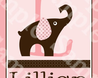"Personalized with any Name and Letter ""Brown & Pink Elephant"" 8x10 inch Nursery Art print So Cute!"