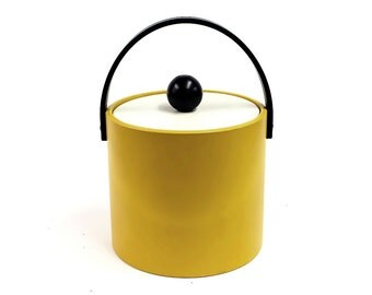Vintage Bright Yellow Ice Bucket with Black Wooden Ball Handle and Letherette Finish