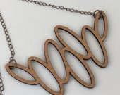 Wood Necklace, Cherry Laser Cut Oval Necklace