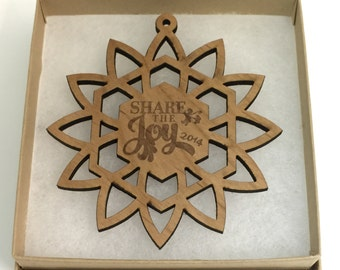 Wooden 2016 Share the Joy Christmas Snowflake Ornament Laser Engraved, Christmas Ornament, Gift Box, Wood Family Ornament, Share The Joy