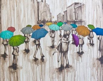 Fine Art Rain Print, titled Finding Love, by Kendra Baird Runnels
