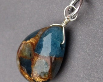 Teal Quartz and Goldstone Matrix Sterling Silver Wire Wrapped Bead Dangle Pendant Charm with Jump Ring