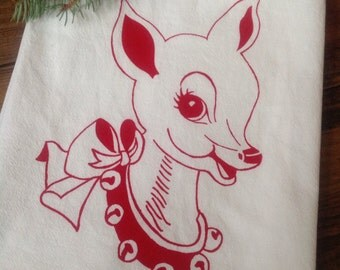Christmas Tea Towel Retro Doe Holiday Deer Flour Sack Red Reindeer Santa Dish Cloth Winter Woodland Rustic Kitchen Rudolph