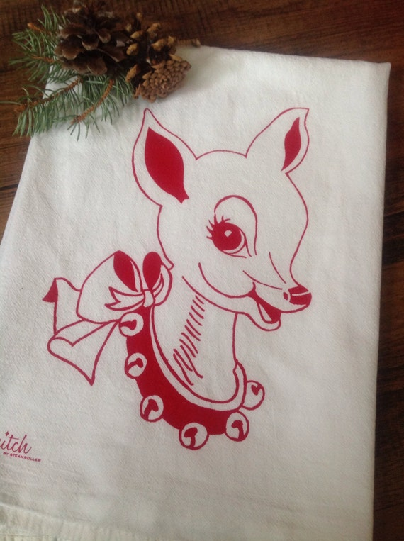 Christmas Tea Towel Retro Doe Holiday Deer Flour Sack Red Reindeer Santa Dish Cloth Winter Woodland Rustic Kitchen Rudolph
