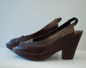 vintage frye wedge sandals, chocolate brown, size 8 1/2