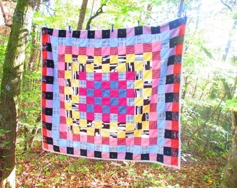 Vintage Patchwork Quilt - 1960s Mid Century Quilt of Many Colors - Handmade Crazy Quilt  - Upcycled Psychedelic Polyester