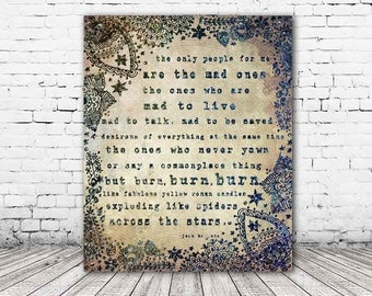 ON SALE 20% OFF The Mad Ones - Stretched Canvas print, typographic print, jack kerouac print, jack kerouac quote, canvas art, on the road, l