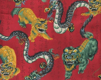 Items similar to dragon and fu dog cotton fabric on etsy for Dragon fabric kids