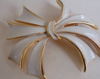 "Vintage brooch, signed ""Torino"" white enamel bow brooch, retro broochdesigner signed jewelry"