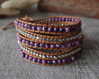 Beaded Wrap Bracelet Leather Wrap Bracelet Beaded Bracelet Purple Beaded 10771