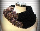 Wearable Art Cowl, Infinity Cowl, Handknit Cowl, Nature Inspired, True Black, Amethyst, Peach, Mauve, Ready to Ship, FishBaySunsets