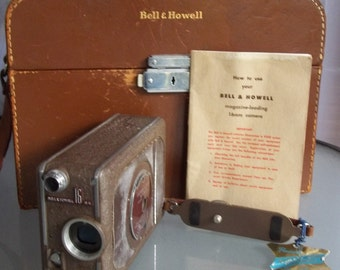 Auto Load Bell & Howell 16mm Camera with Case and Instructions, Vintage Camera, Photography