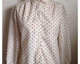 Vintage 1980s white floral button up blouse