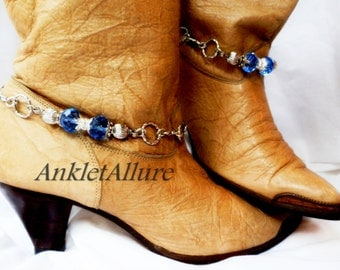 Crystal Blue Boot Chains Aqua Blue Infinity Chain Silver Boot Jewelry Cowboy Boots Boot Jewelry