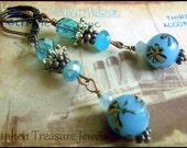 Blue Art Glass, Czech Crystal Downton Abbey, Roaring Twenties, Vintage Titanic Earrings