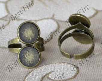 4pcs Antique Bronze Adjustable Ring Bases,Fit 10mm Cabochon,Cabochon Base Ring,Ring Findings,Blank Cabochon Base