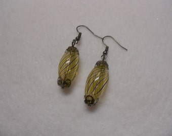 Hand Blown Glass Earrings, Yellow Swirl Earrings